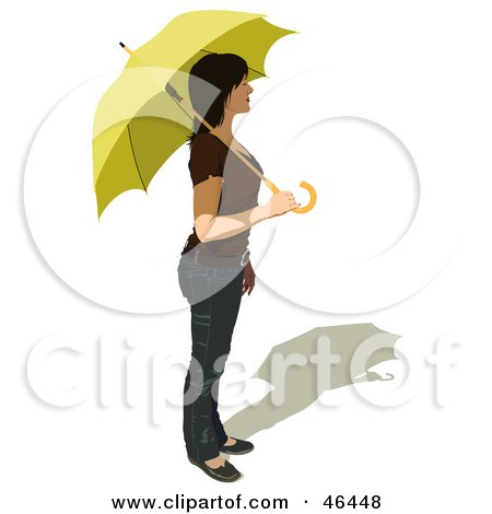 Royalty-Free (RF) Clipart Illustration of a Caucasian Woman In Profile, Holding A Parasol by dero