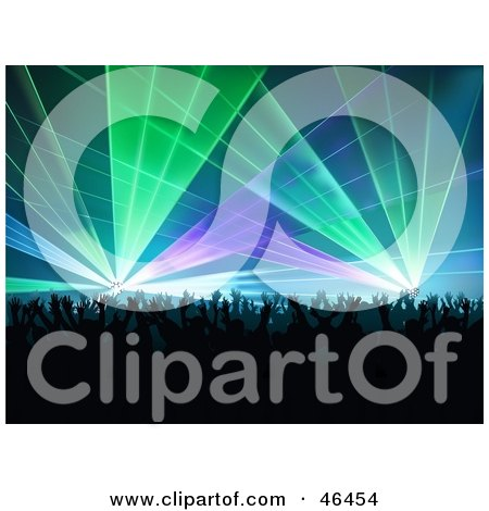 Royalty Free RF Clipart Illustration Of A Silhouetted Concert Crowd Dancing Under Colorful Lighting