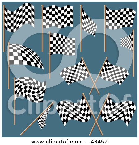 Royalty-Free (RF) Clipart Illustration of a Digital Collage Of Black And White Checkered Racing Flags On Teal by dero
