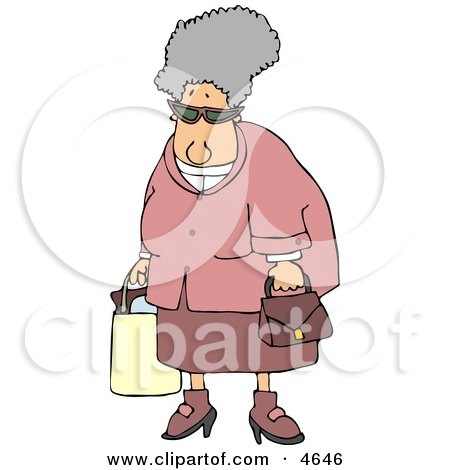 Grandma Carrying a Shopping Bag & Purse Clipart by djart