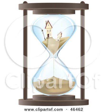 Royalty-Free (RF) Clipart Illustration of Two Sinking Homes In An Hourglass by Eugene