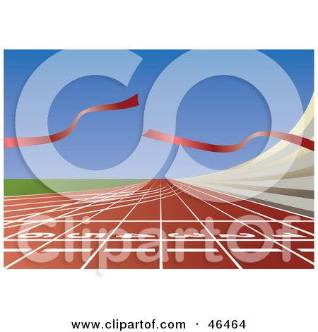 Royalty-Free (RF) Clipart Illustration of a Broken Ribbon Waving At The End Of A Finish Line On A Track by Eugene