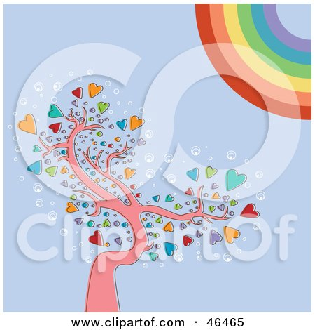 Royalty-Free (RF) Clipart Illustration of a Rainbow Sun Shining Down On A Heart Tree by Eugene