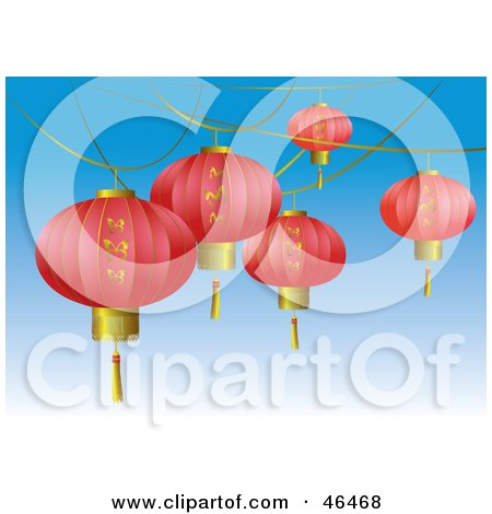 Royalty-Free (RF) Clipart Illustration of Pink Asian Lanterns With Gold Butterfly Designs, Suspended Over A Blue Sky by Eugene