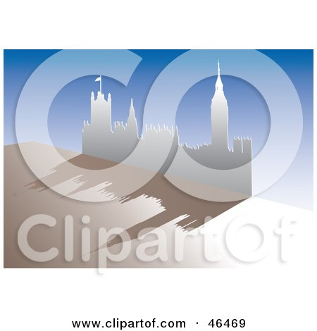 Royalty-Free (RF) Clipart Illustration of a Paper Cutout Of The Palace Of Westminster And Big Ben, With A Shadow On Beige And Blue by Eugene