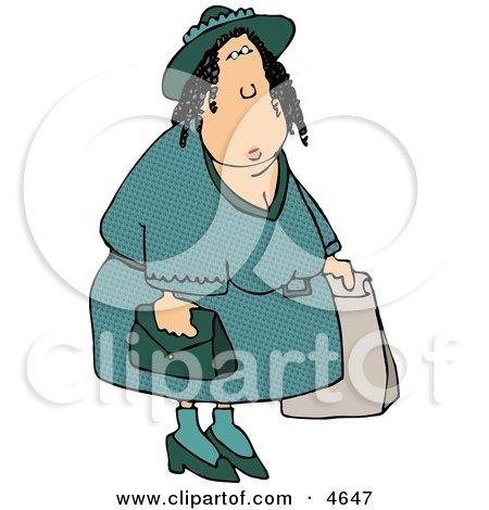 Overweight Woman Shopping Around Clipart by djart