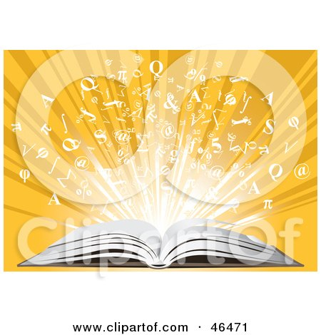 Royalty-Free (RF) Clipart Illustration of Knowledge Bursting From An Open Book On A Yellow Background by Eugene