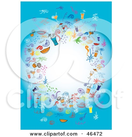Royalty-Free (RF) Clipart Illustration of a Circle Of Party Elements Around A Blank White Center On Blue by Eugene