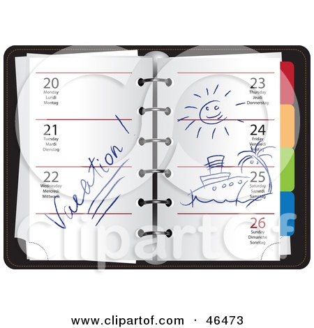 Royalty-Free (RF) Clipart Illustration of a Weekly Organizer Planner Opened To Vacation Week by Eugene