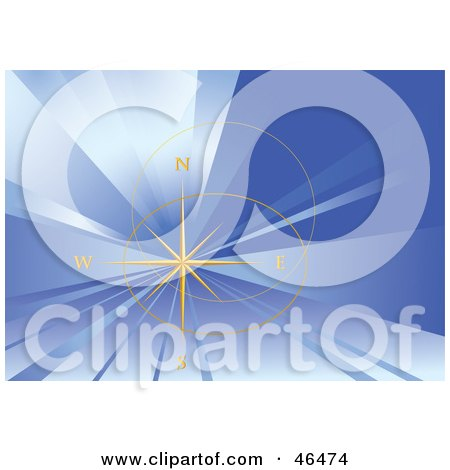 Royalty-Free (RF) Clipart Illustration of a Delicate Gold Compass Rose On A Bursting Blue Background by Eugene