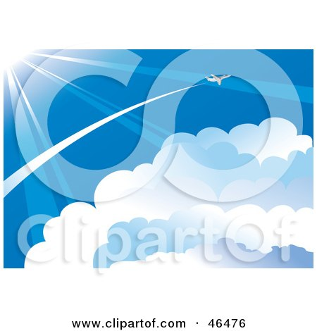 Royalty-Free (RF) Clipart Illustration of a Plane Flying Through The Vast Blue Sky, Above The Clouds And In The Sun Light by Eugene