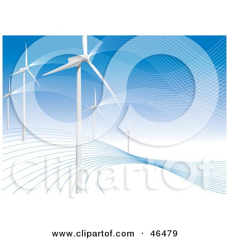 Royalty-Free (RF) Clipart Illustration of a Hillside Of White Turbines Generating Energy At A Wind Farm by Eugene
