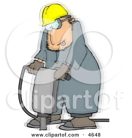Vibrating Worker Operating a Portable Jackhammer Posters, Art Prints