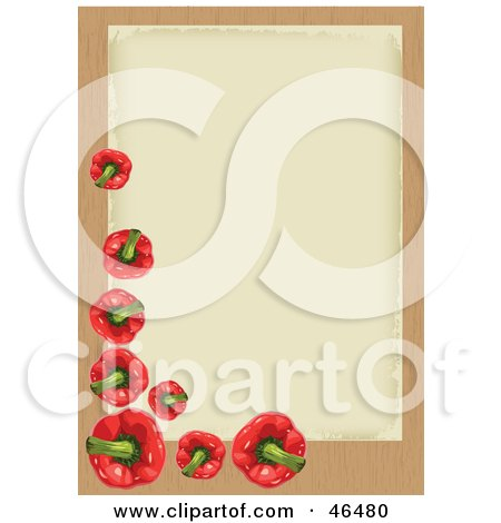 Royalty-Free (RF) Clipart Illustration of a Blank And Aged Beige Background Bordered With Red Peppers by Eugene