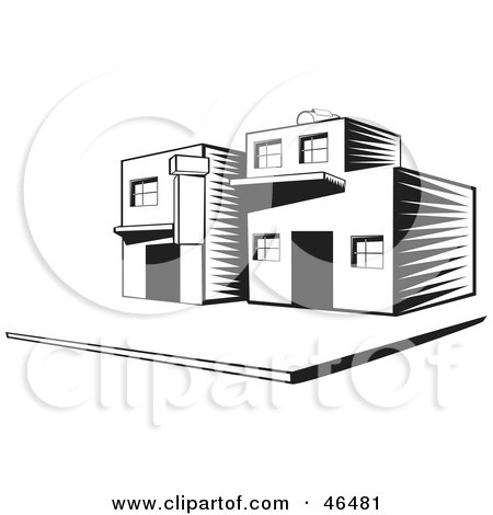 Royalty-Free (RF) Clipart Illustration of a Black And White Townhouse On A Street Corner by David Rey