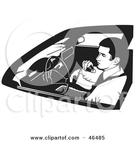 Royalty-Free (RF) Clipart Illustration of a Black And White Undercover Cop Or Security Guard Using A CB Radio by David Rey