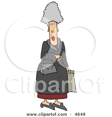 Elderly Woman Carrying a Purse and Shopping Bag Posters, Art Prints