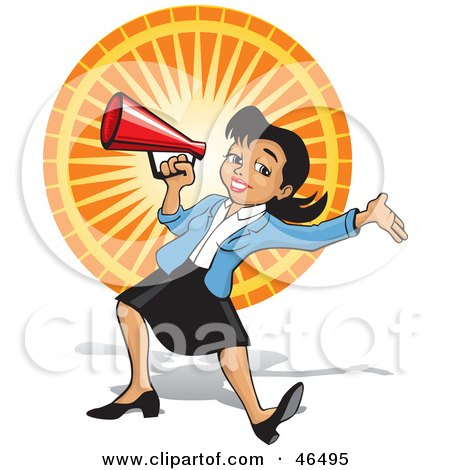 Royalty-Free (RF) Clipart Illustration of an Energetic Business Woman Announcing Through A Megaphone At A Fair by David Rey