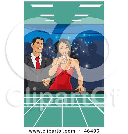Royalty-Free (RF) Clipart Illustration of a Happy Hispanic Couple Blowing On Dice And Gambling In A Casino by David Rey