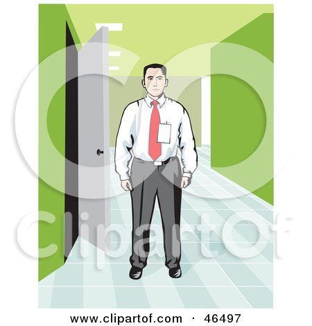 Royalty-Free (RF) Clipart Illustration of a Corporate Businessman Wearing A Badge And Standing In An Office Hallway by David Rey