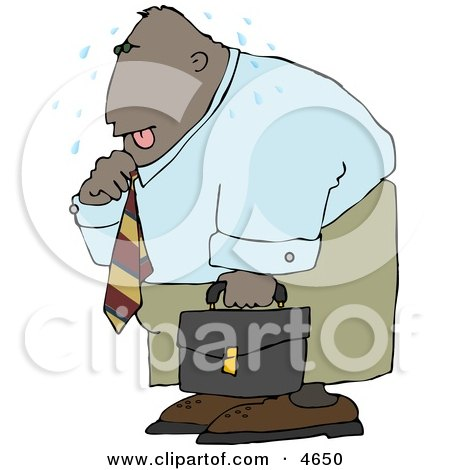 Ethnic Businessman Sweating from the Summer Heat Clipart by djart