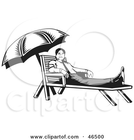 Royalty-Free (RF) Clipart Illustration of a Black And White Businessman Resting On A Lounge Chair On His Break by David Rey