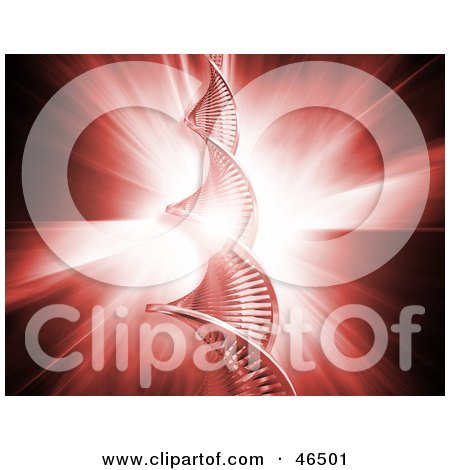 Royalty-Free (RF) Clipart Illustration of a Bright Red Bursting Background Behind A Strand Of DNA by KJ Pargeter