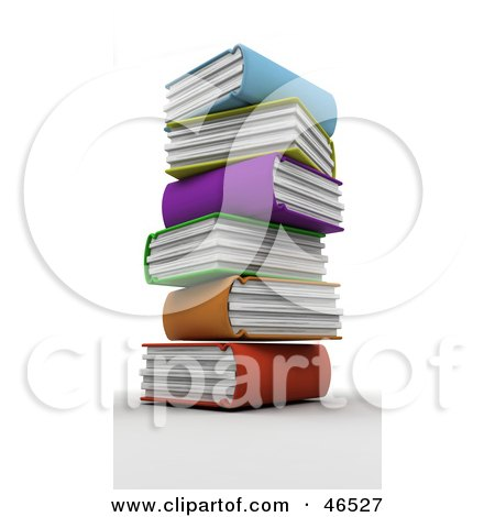 Royalty-Free (RF) Clipart Illustration of a Messy Stack Of Colorful 3d Library Books by KJ Pargeter