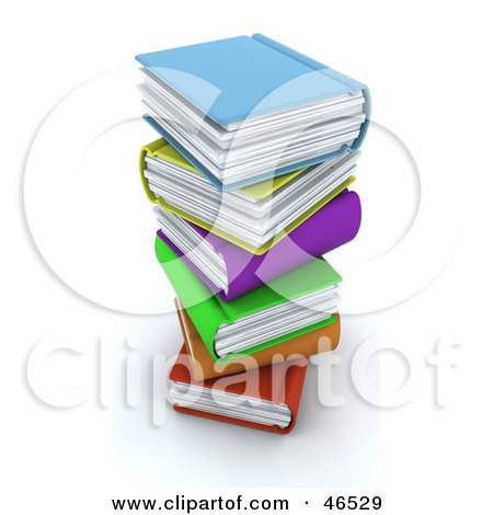 Royalty-Free (RF) Clipart Illustration of a Messy Stack Of Colorful 3d Books by KJ Pargeter