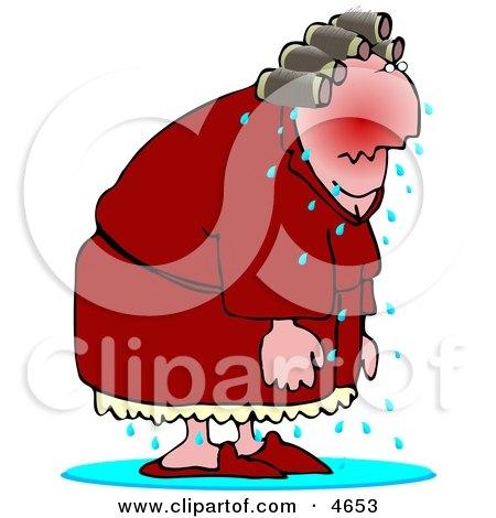 Elderly Menopause Woman Having a Hot Flash Clipart by djart