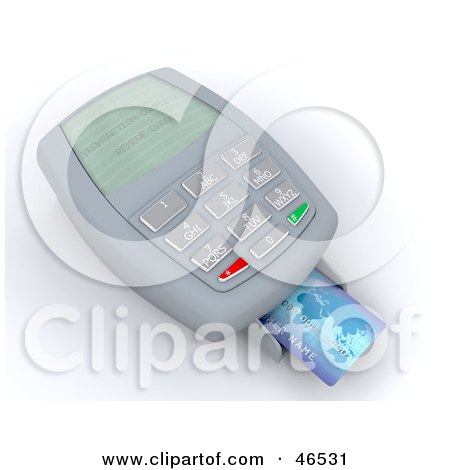 Royalty-Free (RF) Clipart Illustration of a Credit Card Resting On A Machine Reading Transaction Complete by KJ Pargeter