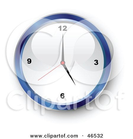 Royalty-Free (RF) Clipart Illustration of a Shiny Blue Wall Clock With A White Face Showing 5 by KJ Pargeter
