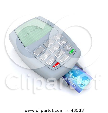 Royalty-Free (RF) Clipart Illustration of a Credit Card Resting On A Machine Reading Card Declined by KJ Pargeter