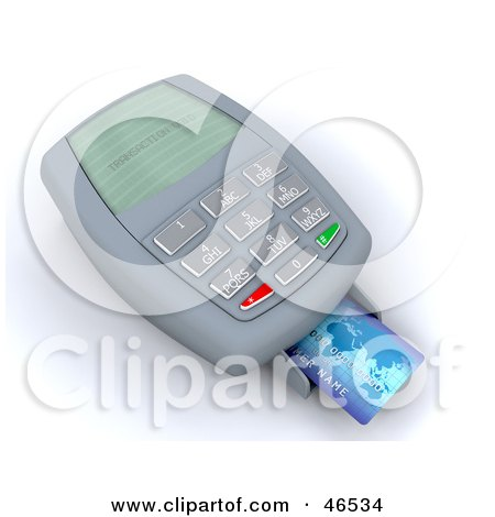 Royalty-Free (RF) Clipart Illustration of a Credit Card Resting On A Machine Reading Transaction Void by KJ Pargeter