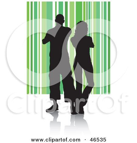 Royalty-Free (RF) Clipart Illustration of a Silhouetted Couple Standing Shoulder To Shoulder On A Green Striped Background by KJ Pargeter