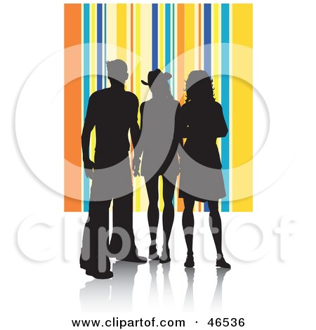Royalty-Free (RF) Clipart Illustration of Silhouetted Adults Against A Yellow And Blue Striped Background by KJ Pargeter