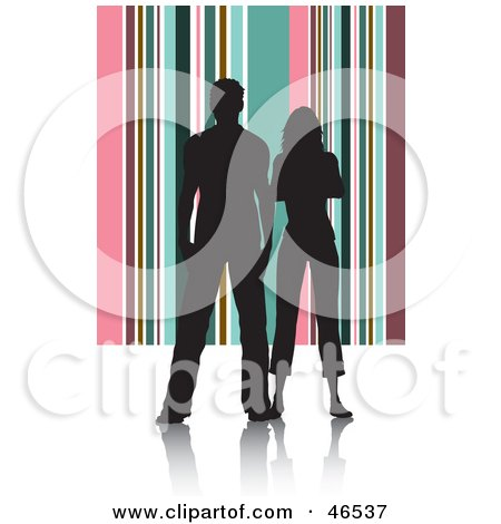 Royalty-Free (RF) Clipart Illustration of a Silhouetted Couple Standing Against A Pink And Green Striped Background by KJ Pargeter