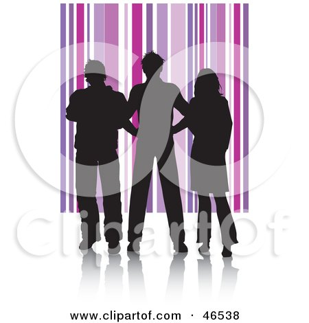 Royalty-Free (RF) Clipart Illustration of Silhouetted Adults Against A Purple Striped Background by KJ Pargeter