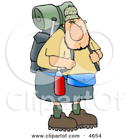 Adventurous Male Hiker Carrying Backpack and Camping Gear Clipart by djart