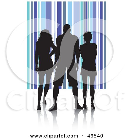 Royalty-Free (RF) Clipart Illustration of Silhouetted Adults Against A Blue Striped Background by KJ Pargeter