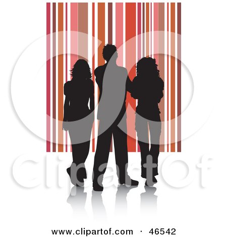 Royalty-Free (RF) Clipart Illustration of Silhouetted Adults Against A Red And Pink Striped Background by KJ Pargeter