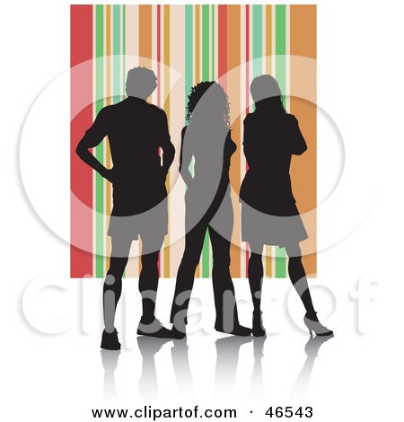 Royalty-Free (RF) Clipart Illustration of Silhouetted Adults Against An Orange Striped Background by KJ Pargeter