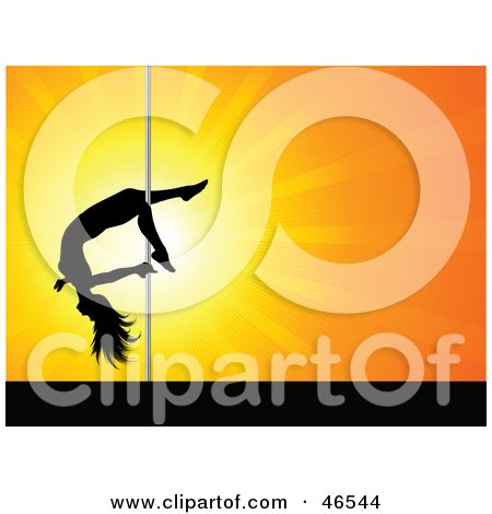 Royalty-Free (RF) Clipart Illustration of a Talented Female Pole Dancer Sliding Down The Pole On Her Leg by KJ Pargeter