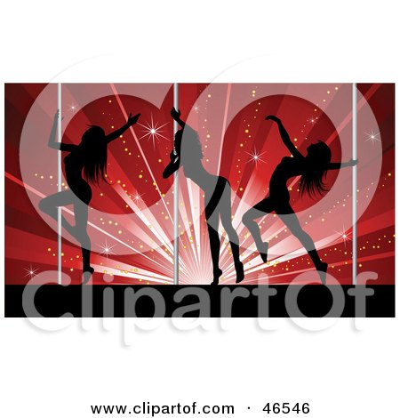 Royalty-Free (RF) Clipart Illustration of Three Sexy Silhouetted Pole Dancers In A Club by KJ Pargeter