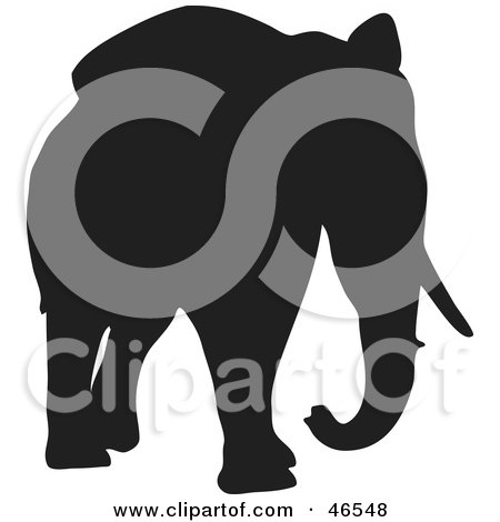 Royalty-Free (RF) Clipart Illustration of an Elephant Walking Forward Black Silhouette On White by KJ Pargeter