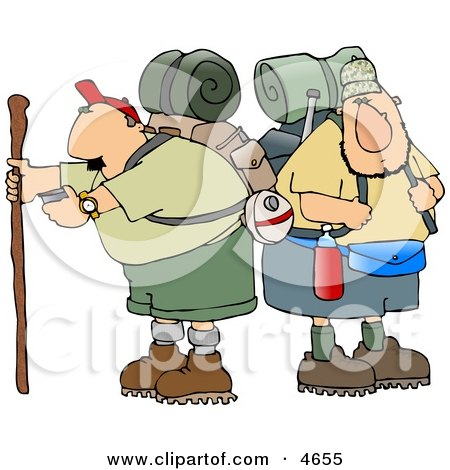 Two Male Hikers with Backpacks and Hiking Gear Clipart by djart