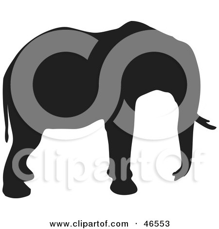 Royalty-Free (RF) Clipart Illustration of an Elephant Profile Black Silhouette On White by KJ Pargeter