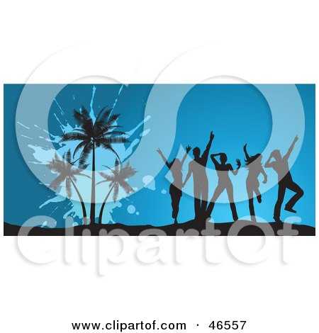 Royalty-Free (RF) Clipart Illustration of Dancing Young Silhouetted Adults By Palm Trees At A Summer Party by KJ Pargeter