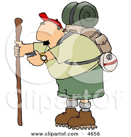Male Hiker Checking His Compass Clipart by djart