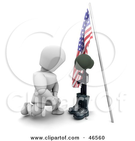 Royalty-Free (RF) Clipart Illustration of a 3d White Character Kneeling At The Grave Of A Fallen War Soldier On Memorial Day by KJ Pargeter